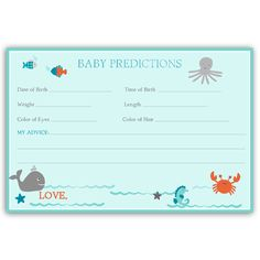 Have guests make predictions at your baby shower with this aqua blue sea themed prediction card featuring an octopus, a whale, a starfish, a seahorse, a crab, a seashell, and colorful fish too! Card m