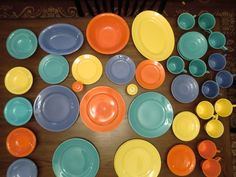 Vintage Homer Laughlin Harlequin 57 Pieces China In  Fiesta Colors Red, Yellow, Green, Turquoise & Blue