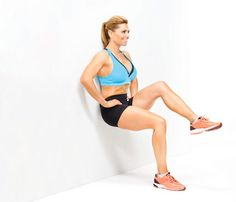 Butt & Thighs - Squat with back to wall, feet together, thighs parallel to floor, hands on hips. Maintain back and butt contact with wall as you lift left knee toward chest (as shown). Return to start. Switch leg to complete 1 rep. Repeat.