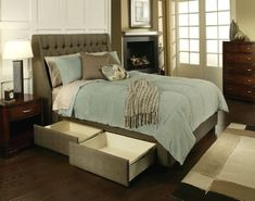 Cambridge Upholstered Storage Bed by Seahawk Designs. I prefer this bed over the other storage bed. Home Bedroom, Bedroom Decor, Bedroom Ideas, Bedrooms, Master Bedroom, Bedroom Inspiration, Bed Storage, Storage Drawers, Bedroom Storage