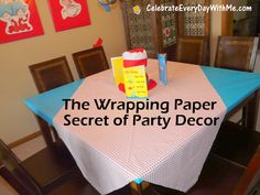 Party decor tip - use wrapping paper to wrap tables, frames, etc in your color/party theme.