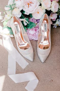 Beautiful Badgley Mischka Ivory wedding shoes with point toe, enclosed and sparkles giving them an elegant touch. Photographed by Sydney photographer Anadena Photography on Wedding Vault.  Wedding shoes, bride shoes, wedding heels, comfortable bride shoes, badgley mischka. #badgleymischka, #weddingvault #weddingphotographer #weddingshoes #weddingheels #bride Badgley Mischka Shoes Wedding, Wedding Heels, Ivory Wedding, Types Of Gowns, Bridal Skirts, Bridal Cape, Wedding Dress Trends, Bridal Fashion Week, Bride Shoes