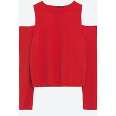Zara Ribbed T-Shirt ($20) ❤ liked on Polyvore featuring tops, clothes - tops, jumpers, shirts, red, ribbed top, zara shirts, ribbed shirt, shirt tops and red top
