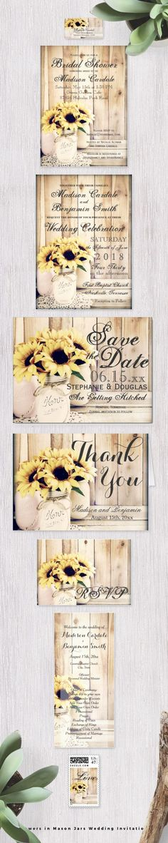 Sunflowers in Mason Jars Wedding Invitation Set with bouquets of sunflowers in painted mason jars on a…