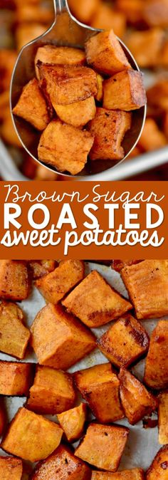 These Brown Sugar Roasted Sweet Potatoes are roasted with brown sugar, cinnamon, butter, and a little cayenne for a kick.  They are the perfect side dish recipe.  Easy to throw together and delicious!