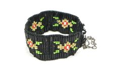 Black Beaded Seed Bead Flower Cuff Bracelet Beaded Bracelet beautifully hand beaded with Cz Seed Beads The Latest Trend In Fashion Jewel Beaded Cuff Bracelet, Flower Bracelet, Beaded Jewelry, Native American Patterns, Seed Bead Flowers, Golden Flower, Black Seed, Gold Beads, Bead Art