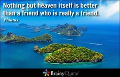 Nothing but heaven i  Nothing but heaven itself is better than a friend who is really a friend. - Plautus  https://www.pinterest.com/pin/445082375654642344/   Also check out: http://kombuchaguru.com