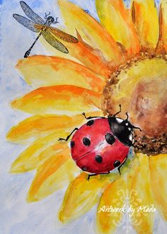 Image result for Ladybug with Sunflower On Canvas