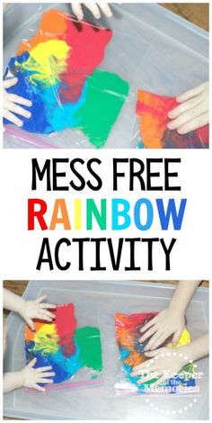 Mess Free Rainbow Activity for Babies, Toddlers, & Preschoolers - Toddler STEAM & Sensory Activities - If you're putting together a Rainbow or Weather theme, here's a really versatile idea to get yo - Weather Activities Preschool, Rainbow Activities, Sensory Activities Toddlers, Kids Learning Activities, Infant Activities, Childcare Activities, Rainbow Crafts, Preschool Crafts, Art Activities For Preschoolers