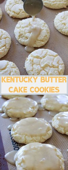INGREDIENTS 1 box white cake mix 2 eggs {whisked} cup butter {melted} Glaze cup butter cup granulated sugar 1 tbsp water 1 tsp v. Cookie Recipes From Scratch, Best Cookie Recipes, Baking Recipes, Snack Recipes, Dessert Recipes, Cake Mix Cookies, Cupcakes, Kentucky Butter Cake, Cake Mix Recipes