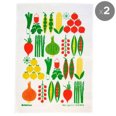 Koloni Stockholm Vegetables Tea Towels - Kitsch Kitchen - Temple & Webster $29.95