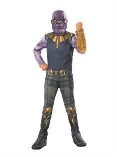Epex Deluxe Novelty Fancy Dress Halloween Creepy Thanos Villain Head Mask Purple