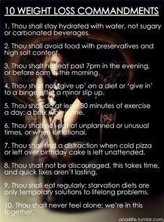 10 weight loss commandments