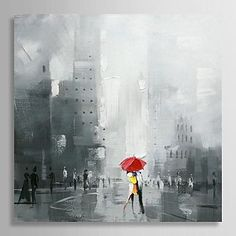 peints à la main peinture à l'huile gens qui dansent sous la pluie avec cadre étiré – EUR € 77.36