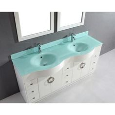 The Art Gallery Vanity in White with Glass Vanity Top in Mint and Mirror