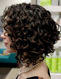 curly stacked bob haircut