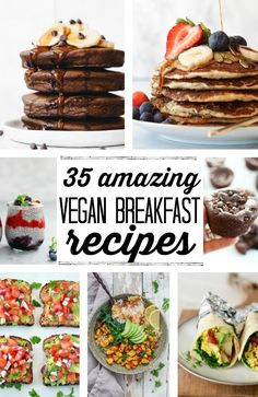35 of the best vegan breakfast recipes around! From sweet to savory, these vegan breakfast ideas are so delicious. Don't miss the healthy pancakes, gluten free muffins, and plant based, high protein breakfast burritos! Breakfast And Brunch, Vegan Breakfast Casserole, Best Vegan Breakfast, Vegan Gluten Free Breakfast, Plant Based Breakfast, Healthy Breakfast Recipes, Brunch Recipes, Vegetarian Recipes, Cooking Recipes