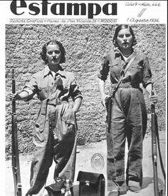 """Spain - 1936. - GC - Milicianas madrileñas en la portada de la revista """"Estampa"""", agosto de 1936."""
