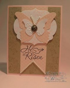 Love Gretchen's Easter Card. Card Base Pink Pirouette with layers of Crumb Cake, Whisper White & the Polka Dot Designer Series Paper from the Subtles Paper Pack.  Big Shot, Framelets Labels Collections, Butterfly Die & Beautiful Wings Embosslet. Other supplies include Antique Brads, Stampin' Dimensionals, Basic Pearls & Vintage Vogue Stamp Set & He Is Risen Individual Stamp.