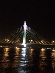 A beautiful night view of the Lekki-Ikoyi bridge. Fun Fact: This is the first cable stayed bridge in Nigeria. Cable Stayed Bridge, George Washington Bridge, Us Travel, Plane, Fun Facts, Night, Beautiful, Airplane, Suspension Bridge