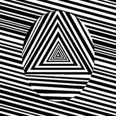 Black and white optical illusion of an oval shaped created out of triangles.