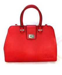 Red Leather RETRO Bowler Bag
