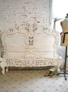 Painted Cottage Chic Shabby Romantic Rococo King or Queen Bed