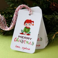 Colorful Elf Personalized Merry Christmas Tags by Scrap Bits