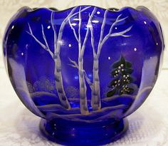 2011-Fenton-Glass-Cobalt-Blue-Handpainted-Serene-Winter-Rosebowl-Vase