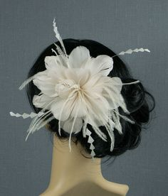 Taupe Feather Bridal Fascinator Wedding Hairpiece Flower Comb Natural Flower Hair Clip Bride 1920's Hair Comb Wedding Gift Accessory Prom