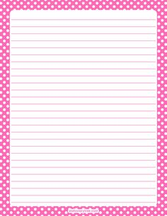 Printable hot pink and white polka dot stationery and writing paper. Multiple versions available with or without lines. Free PDF downloads at http://stationerytree.com/download/hot-pink-and-white-polka-dot-stationery/