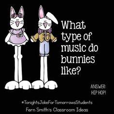 -Tonight's Joke for Tomorrow's Students! What type of music do bunnies like? Hip … Tonight's Joke for Tomorrow's Students! What type of music do bunnies like? Cute Jokes, Corny Jokes, Funny Jokes For Kids, Funny Puns, Dad Jokes, Clean Jokes For Kids, Hilarious, Kid Friendly Jokes, Music Jokes