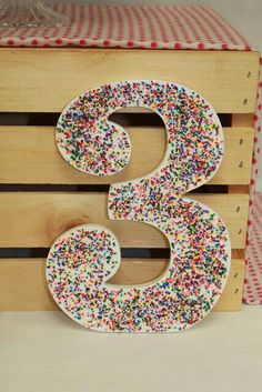 Number 3 decorated in sprinkles at a birthday party Third Birthday, 90th Birthday, 1st Birthday Girls, Birthday Ideas, Birthday Cakes, Donut Birthday Parties, Donut Party, Sprinkles, Diy Party