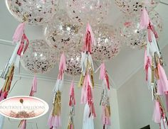 Giant confetti and tassle balloons... Baby pink, rose gold, silver, white and…