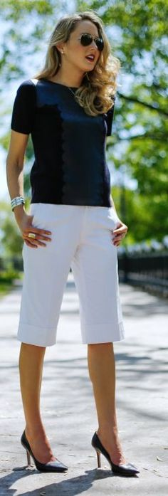 Banana Republic White Women's Tailored Knee Length Gaucho Pants by The Classy Cubicle