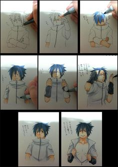 "Characters that are ""difficult to color because they move too much"" - Sasuke I love how people draw like this!"