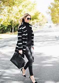 Striped My outfit details: ASOS coat, J.Crew sweater, leather pants, Gianvito Rossi shoes, Givenchy bag, Karen Walker sunglasses Fashion By Ivory Lane