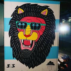 Sidwell the Sexy Lion painted today on a @supercheap_storage module. He will be auctioned off with the proceeds going to @rednosedayaustralia. I would love to hear your ideas about his story.