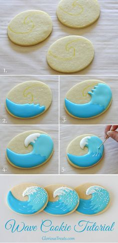 Surfboard and Wave Cookies - Glorious Treats