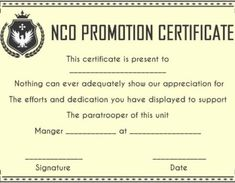Promotion Certificate Template : Free Templates for Students, Employees & Army - Template Sumo Coast Guard Officer, Warrant Officer, Certificate Templates, Promotion, The Unit, Student, Free