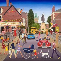 PRINTS - Bishop on the Bridge - Winchester - Louise Braithwaite – Naive Artist City Folk, Smart Art, Happy Paintings, Naive Art, People Art, Art Market, Graphic Illustration, Folk Art, Winchester Hampshire