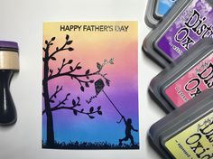 #thedailymarker30day day 11 - distress oxide ink blending and heat embossing using @heroarts may card kit #mymonthlyhero #heatembossing #inkblending @ranger_ink embossing powder and #distressoxide @kathyrac @simonsaysstamp sentiment from Father's Day finds stamp set #sssflickrchallenge