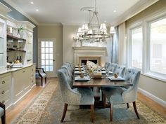 Candice Olson - dining rooms - gray, blue, chandelier, blue, rug, upholstered, tan, neutral, potlights, fireplace, cabinets, wood, blue, velvet, tufted, chairs, chrome, chandelier, fireplace, built-ins, cabinets, shelves, candice olson dining room, candice olson dining rooms, candice olson rooms, candace olson design, candice olson interior design, candice olson,