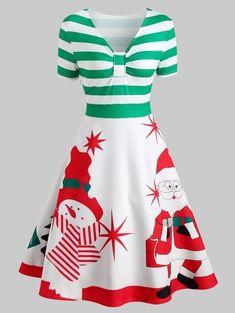 ad1a09be838fa Christmas Snowman Print A Line Dress - multicolor M Black And White Vintage  Dresses, Dress