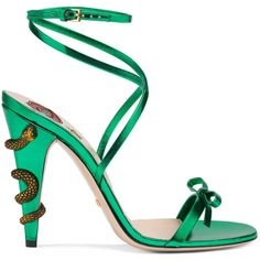 Gucci Leather Crisscross Sandal ($800) ❤ liked on Polyvore featuring shoes, sandals, gucci, women, high heeled footwear, gucci shoes, bow sandals, wrap sandals and leather sandals
