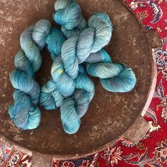 Vincent\'s Eyes of China Blue is a luxurious mix of baby alpaca, silk and cashmere. The halo is incredible and so soft. The colors are the colors of Van Gogh\'s The Starry Night. #etsyshop #nabiwoolstudio #nabiwoolstudioyarns #handdyedyarn #breien #yarnlove #yarnporn #yarnaddict #knittingaddict #knittersofinstagram #makersgonnamake #strikke #stricken #strikkedilla