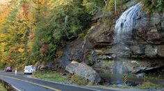 Bridal Veil Falls 2.5 miles west of Highlands NC on HWY 64. You can drive under it!
