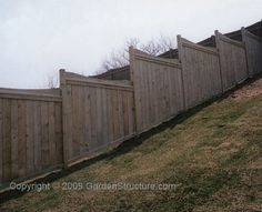 DIY Fence plans... this is pretty much how we need to fix/replace our existing fence.  it looks ridiculous slanted down the incline of the backyard - staggered looks better.