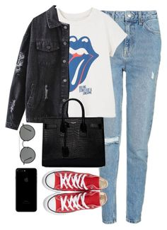 """Untitled #3669"" by theaverageauburn on Polyvore featuring Topshop, MANGO, Yves Saint Laurent, Converse and Ray-Ban"