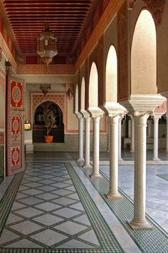 Patterned tiles designate the walkways at La Mamounia hotel in Marrakech